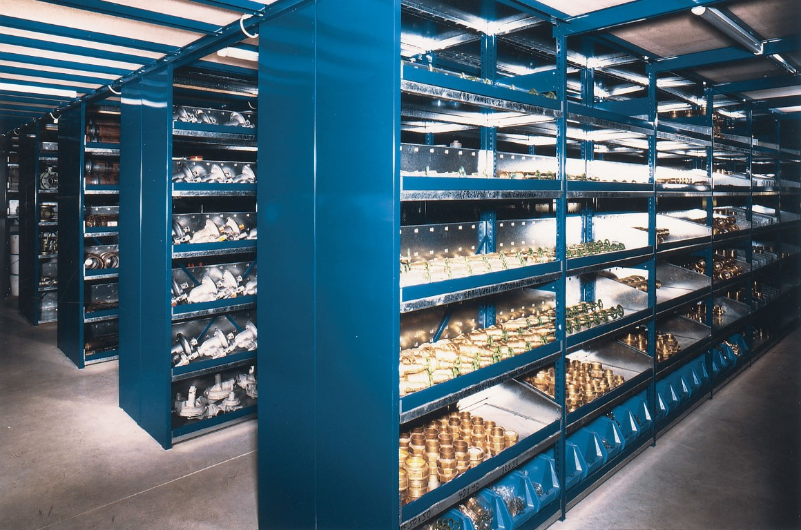 Small parts storage with shelving racks