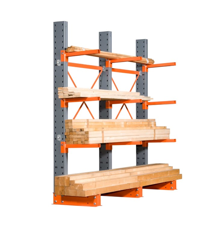 Cantilever racking for medium loads in the timber trade