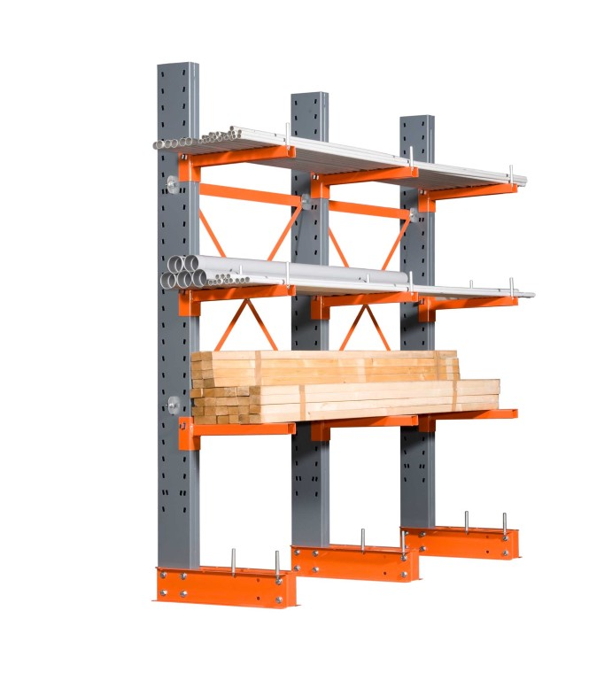 Single-sided cantilever racking for medium loads