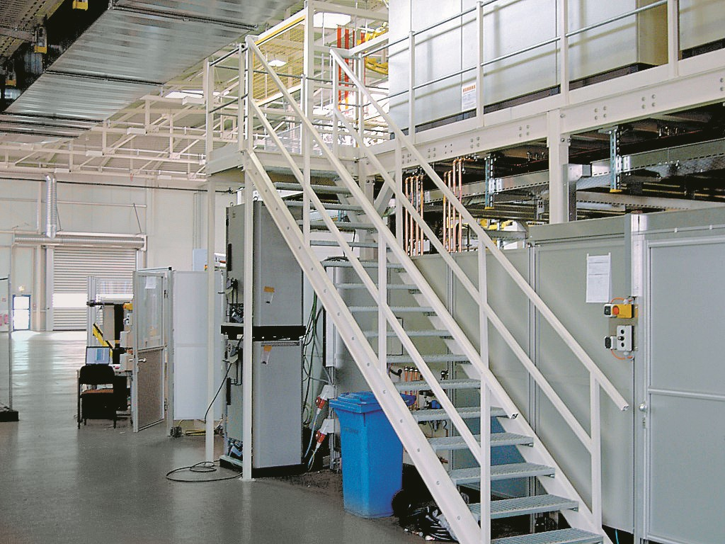 Structural steel platform with stairs and landing