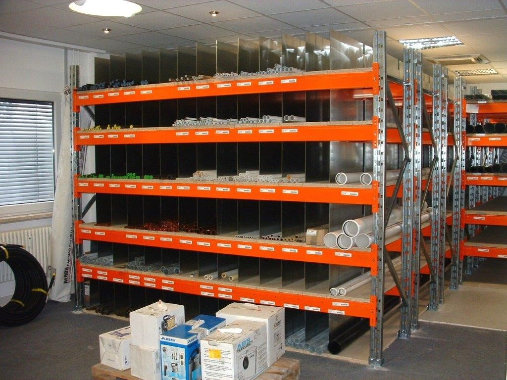 Pallet racking for plumbing wholesale trade indoors