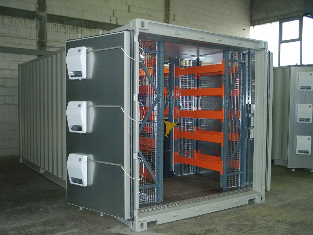 Mobile racks in containers