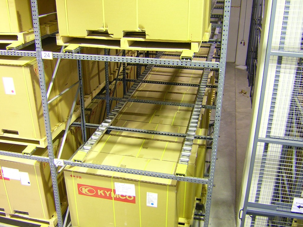 Pallet racking as push-back storage with roller conveyors