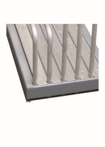 Sheet plate rack with detailed view of galvanised bottom rail
