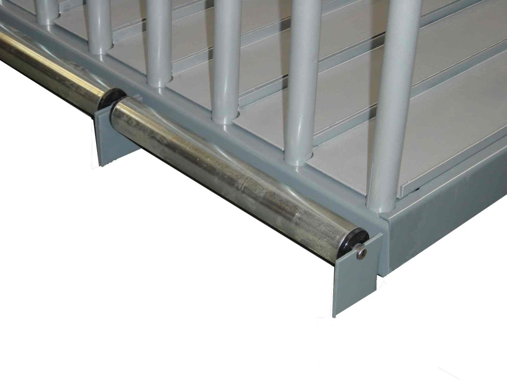 Sheet plate rack with ball bearing metal roller