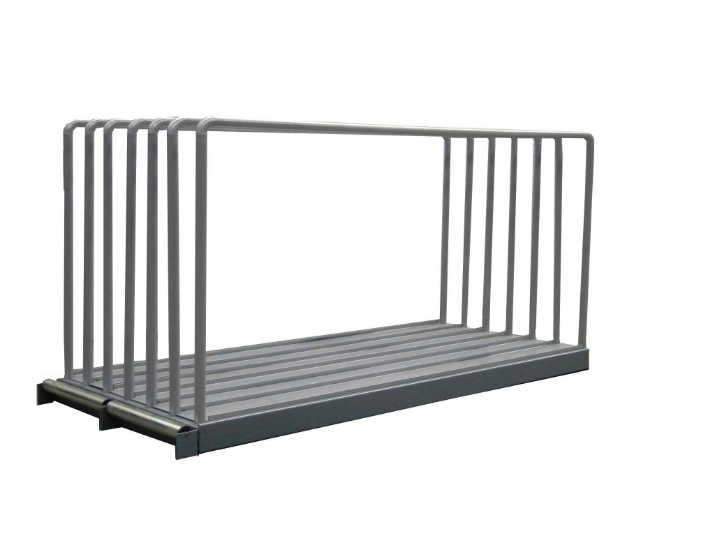 Sheet plate rack type VLT with dividers and metal rollers
