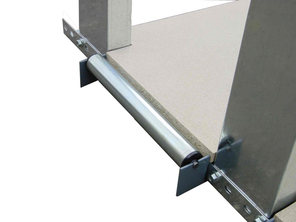 Detailed view of the ball bearing metal roller for the board rack