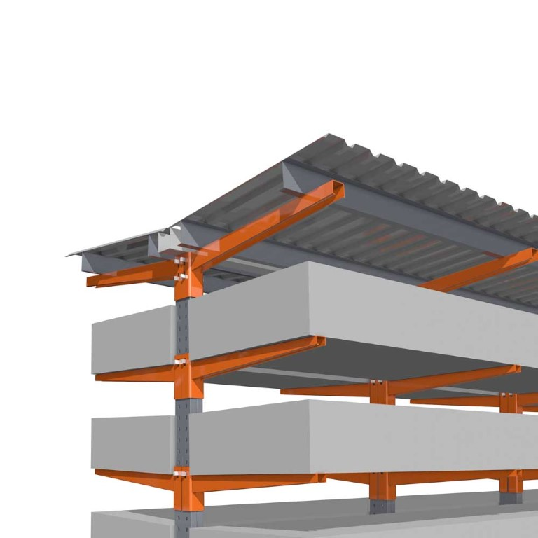 Accessories for cantilever racking with roof construction