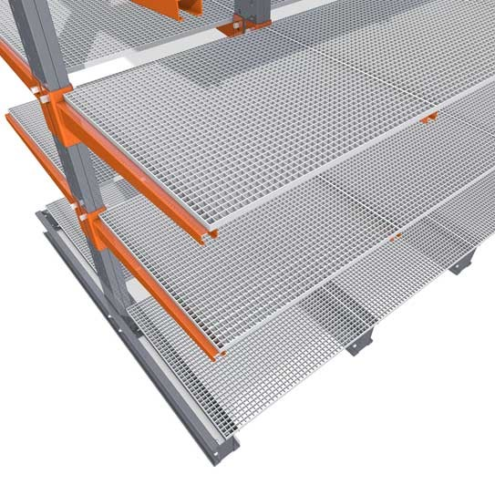 Accessories for cantilever racking with grate decking