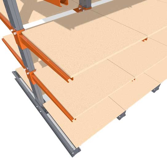 Accessories for cantilever racking with chipboard decking