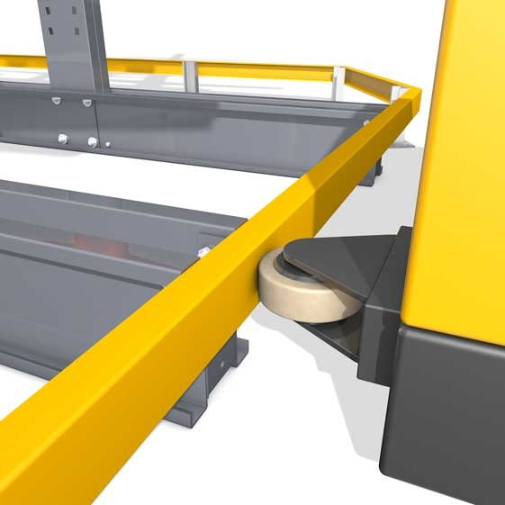 Accessories for cantilever racking, here the guide rail