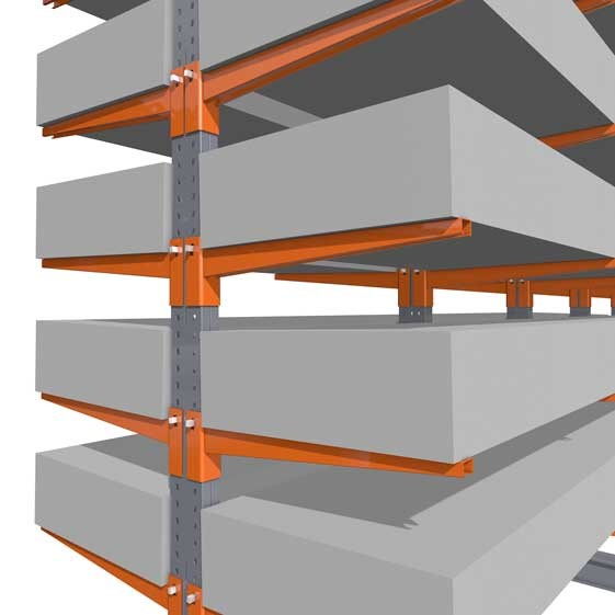 Accessories for cantilever racking, here the conical support arms