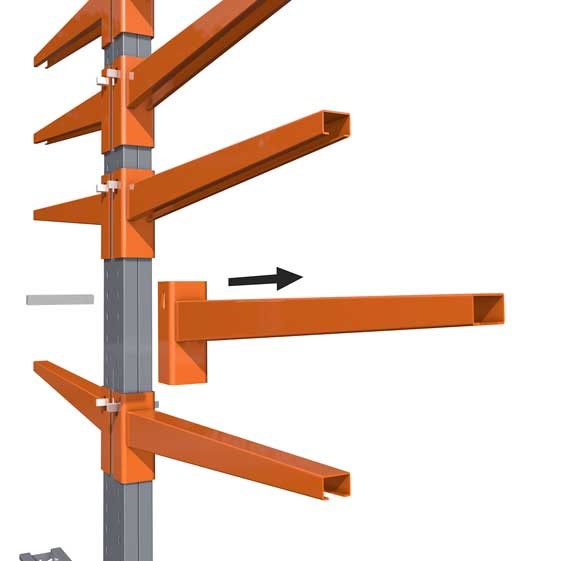 Accessories for cantilever racking, here the support arms