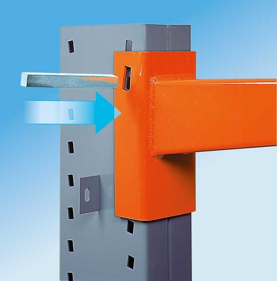 Accessories for cantilever racking, here the patented pin connection